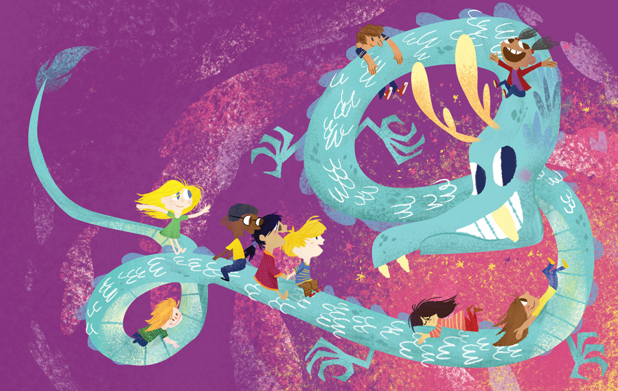 Illustration from the upcoming book, The Dragons are Coming!, written by Lotus Linton Howard.